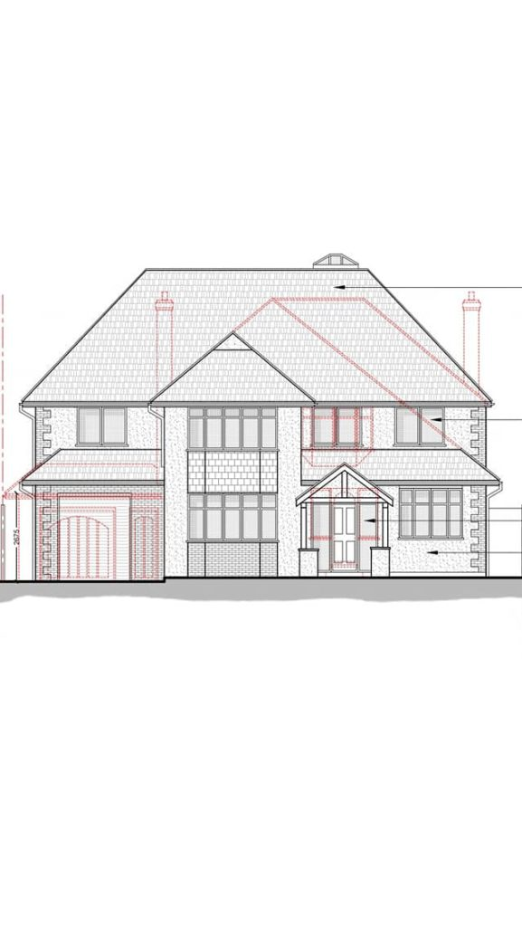 Full house extension & renovation, drawing by Alexander Gemini. Construction underway.